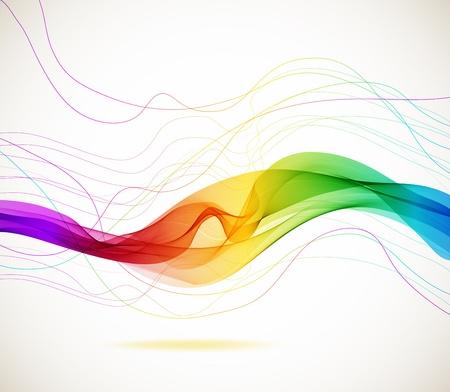 波、イラストと抽象的なカラフルな背景