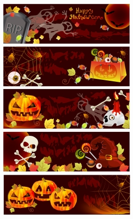 Collection of Halloween banners with place for text  Autumn background Vector