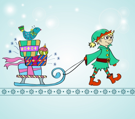 Christmas background with sledge, gifts and gnome, illustration Vector