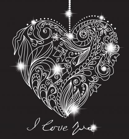 encantador: cartão do Valentim com coração floral preto e branco, ilustração para o projeto romântico Ilustração