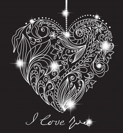 valentine: valentine card with floral black and white heart, illustration for romantic design