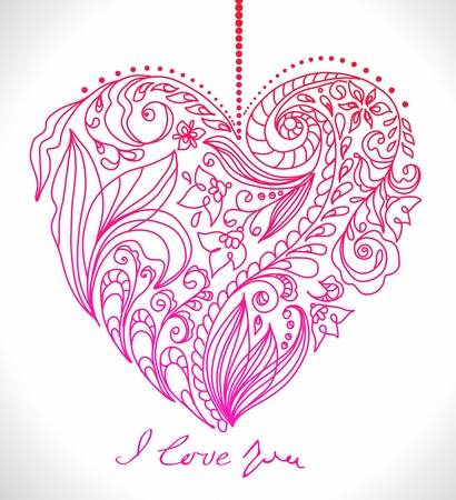 ornate swirls: valentine card with floral heart, illustration for romantic design
