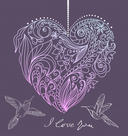 valentine card with floral heart and birds, illustration Vector