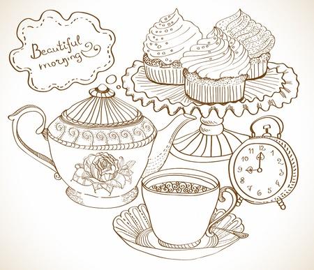 vintage cafe: vintage background t�, disegnata a mano set per la prima colazione Vettoriali