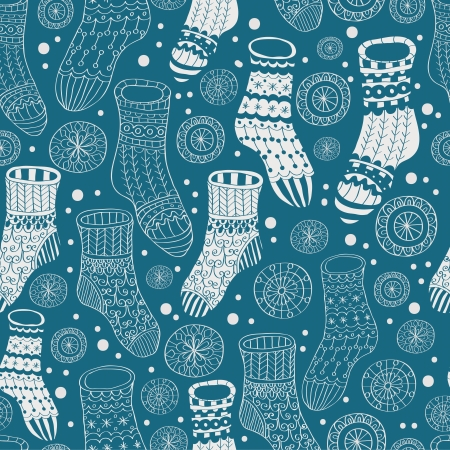 Seamless background with decorative winter stockings, illustration for design Vector