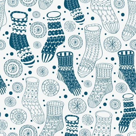 stockings feet: Seamless background with decorative winter stockings, illustration for design