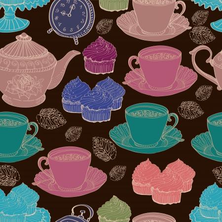 vintage tea background  seamless pattern for design Stock Vector - 15683985