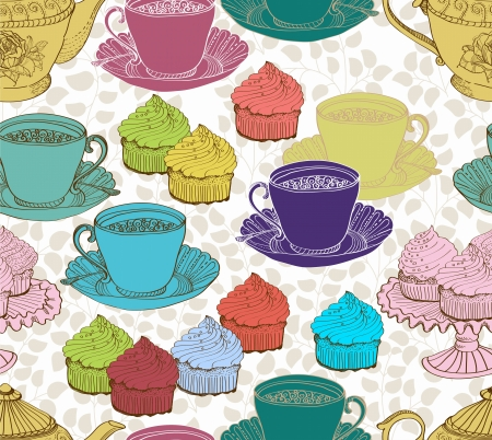 teatime: vintage tea background  seamless pattern for design