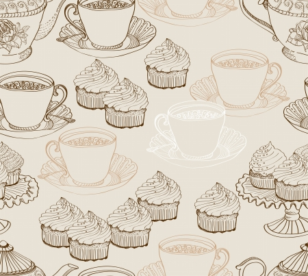 vintage tea background  seamless pattern for design Vector