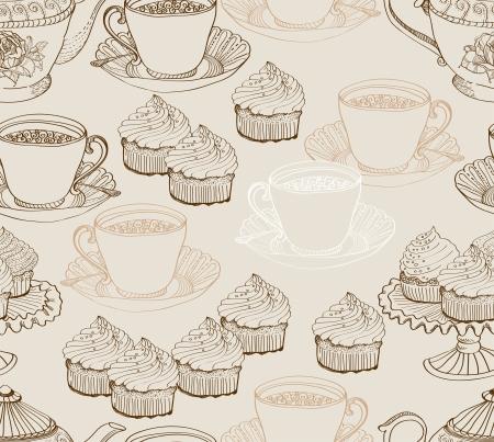 vintage tea background  seamless pattern for design Stock Vector - 15683984