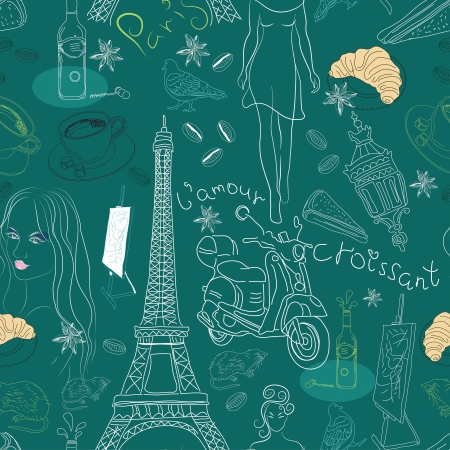 couturier: Seamless background with different Paris doodle elements, illustration for design