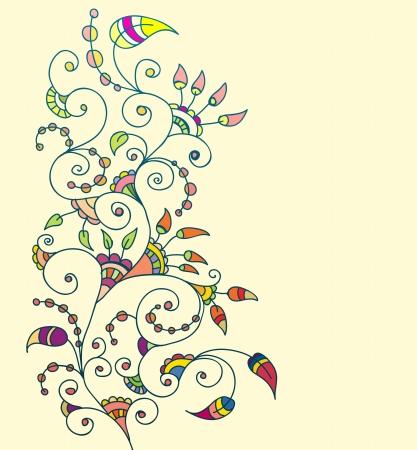 lineas decorativas: Fondo floral con estilo, dibujado a mano las flores, ilustración Vectores