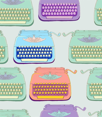retro typewriter, vintage hand drawn background, seamless pattern