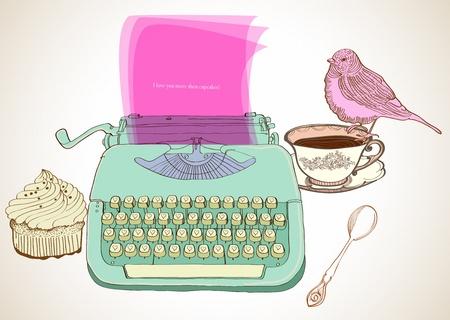 typewriter: m�quina de escribir retro mano, vintage fondo dibujado por San Valent�n dise�o