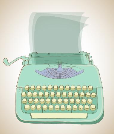 typewriter: máquina de escribir retro, fondo dibujado mano de la vendimia