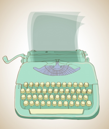 writers: retro typewriter, vintage hand drawn background Illustration
