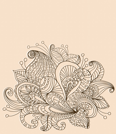 Doodle color floral background, illustration for your design Stock Vector - 15774992