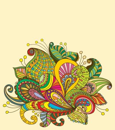 Doodle color floral background, illustration for your design