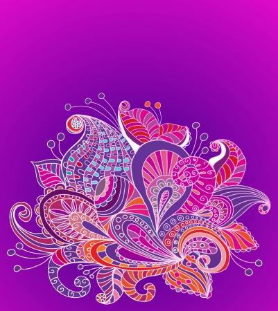 Doodle color floral background, illustration for your design Stock Vector - 15774993