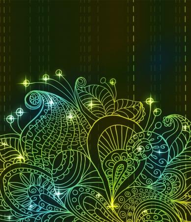 Doodle green bright color floral background, illustration for your design Stock Vector - 15774996