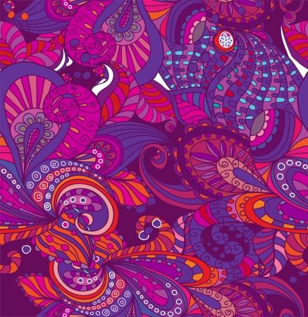 Doodle seamless color floral background, illustration for your design Stock Vector - 15774995