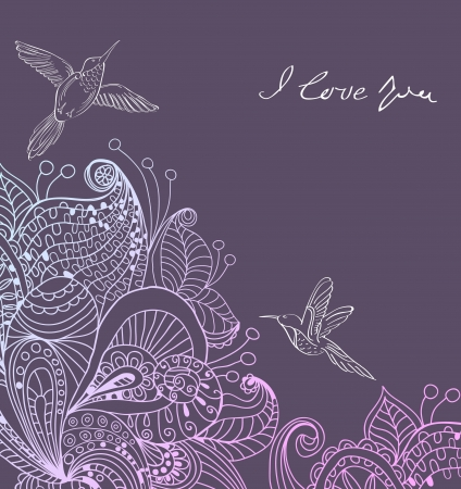 Romantic colorful floral background with birds, illustration for Valentine
