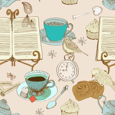 té vendimia mañana de fondo sin fisuras patrón de diseño, ilustración
