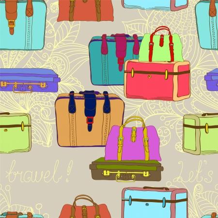 luggage tag: travel suitcases seamless illustration Illustration