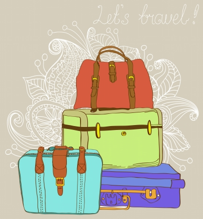 beach bag: Travel color Suitcases Background, illustration