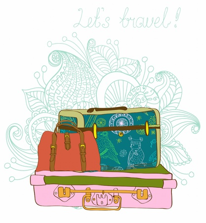 Travel color Suitcases with funny pattern Background, illustration Vector