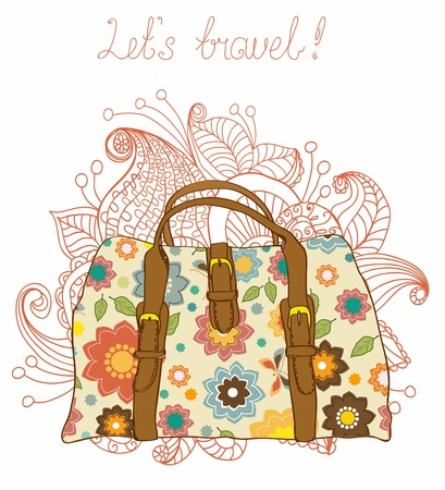 beach bag: Travel Suitcases with floral pattern Background, illustration