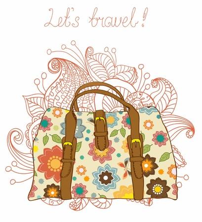 vintage travel: Voyage Valises avec le fond de motifs floraux, illustration Illustration