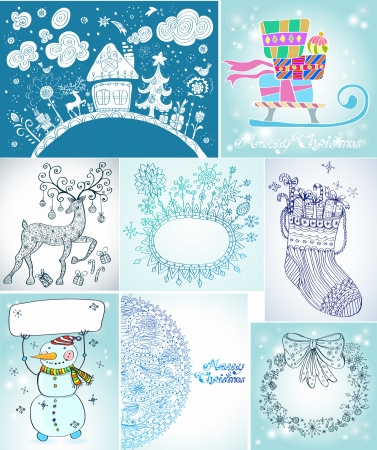 Set of Christmas Cards for your design Vector
