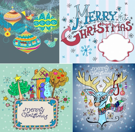 Set of color Christmas Cards for your design Stock Vector - 15828131