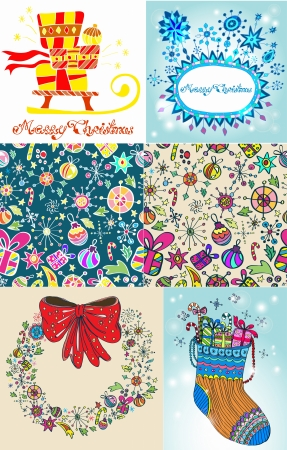 Set of color Christmas Cards for your design Vector