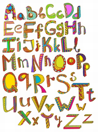 Color hand drawn alphabet, illustration Vector