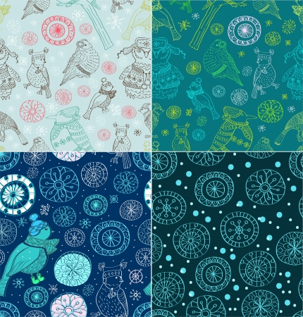 Seamless doodle background with snowflakes and birds, set for your design Vector