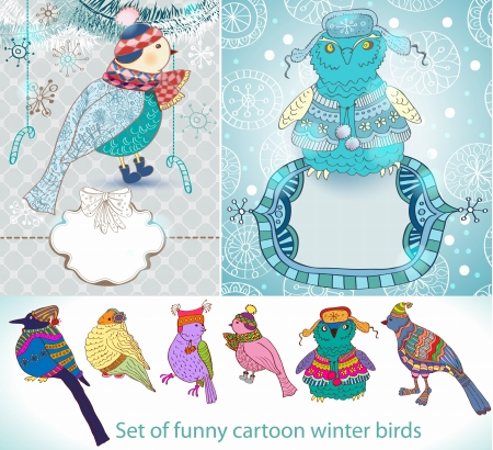 Set of funny cartoon winter birds, illustration Vector