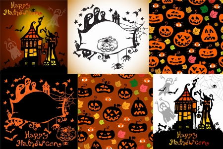 Set of Halloween Cards for party design Vector