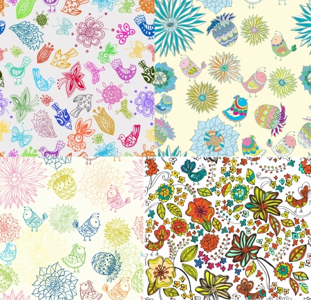 Set of Seamless Backgrounds with funny birds and flowers, cute hand drawn illustration Stock Vector - 15828138