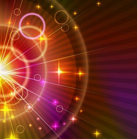 fiestas electronicas: Resumen luz naranja y violeta de fondo con estrellas y círculos Vectores