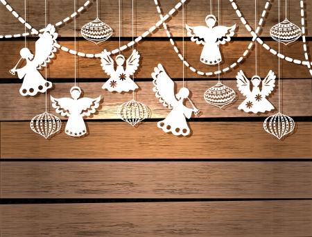 angel white: Merry Christmas  card with Angels and decorations in paper cut style Illustration