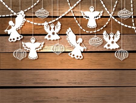Vrolijke Kerstkaart met Engelen en decoraties in papier gesneden stijl