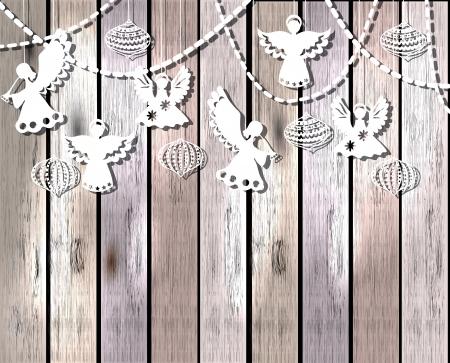 silueta de angel: Feliz tarjeta de Navidad con �ngeles y adornos de estilo de corte de papel