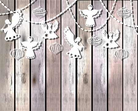 christmas angels: Merry Christmas  card with Angels and decorations in paper cut style Illustration