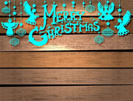 Merry Christmas  card with Angels and decorations in paper cut style with place for text Vector