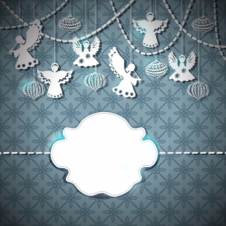 angel silhouette: Merry Christmas  card with Angels and decorations in paper cut style with place for text