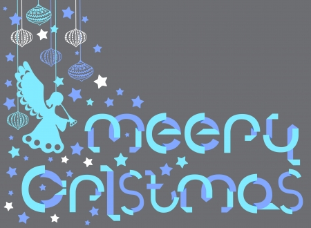 Merry Christmas card with letters in origami style Vector
