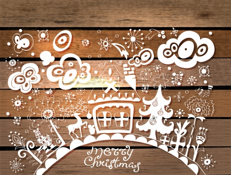 Christmas hand drawn background with place for text over wood texture, illustration in paper cut style