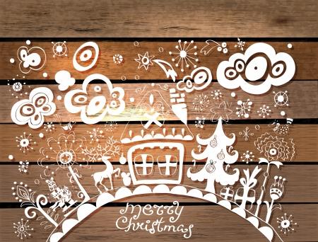 salumi affettati: Mano Natale sfondo disegnato con il posto per il testo su struttura di legno, illustrazione in stile carta tagliata
